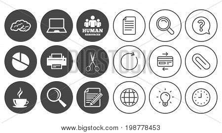Office, documents and business icons. Human resources, notebook and printer signs. Scissors, magnifier and coffee symbols. Document, Globe and Clock line signs. Lamp, Magnifier and Paper clip icons