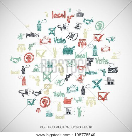 Multicolor doodles flat Hand Drawn Politics Icons set In A Circle on White background. EPS10 vector illustration.