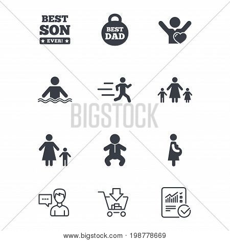 People, family icons. Swimming, baby and pregnant woman signs. Best dad, runner and fan symbols. Customer service, Shopping cart and Report line signs. Online shopping and Statistics. Vector