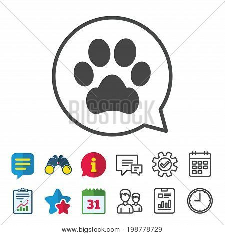 Dog paw sign icon. Pets symbol. Information, Report and Calendar signs. Group, Service and Chat line icons. Vector
