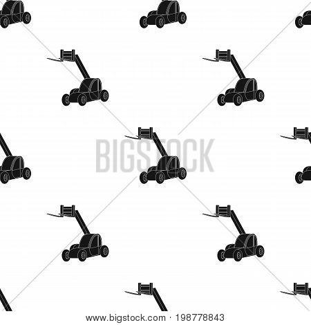 The car lift for loading cargo into the truck for transportation.Agricultural Machinery single icon in black style vector symbol stock web illustration.