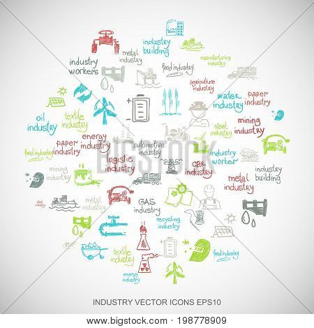 Multicolor doodles flat Hand Drawn Industry Icons set In A Circle on White background. EPS10 vector illustration.