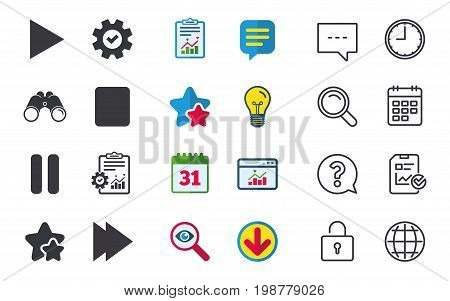 Player navigation icons. Play, stop and pause signs. Next song symbol. Chat, Report and Calendar signs. Stars, Statistics and Download icons. Question, Clock and Globe. Vector