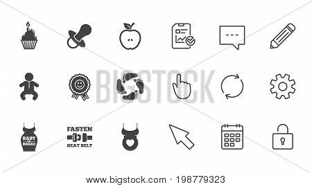 Pregnancy, maternity and baby care icons. Apple, award and pacifier signs. Footprint, birthday cake and newborn symbols. Chat, Report and Calendar line signs. Service, Pencil and Locker icons. Vector