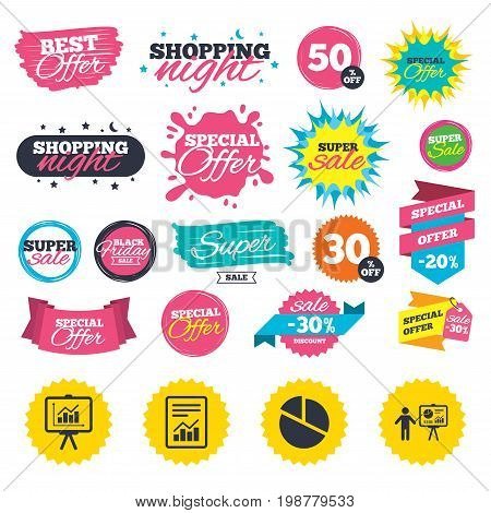 Sale shopping banners. File document with diagram. Pie chart icon. Presentation billboard symbol. Supply and demand. Web badges, splash and stickers. Best offer. Vector