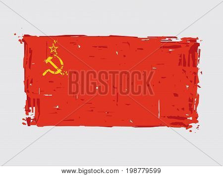 Soviet Union Flat Flag - Vector Artistic Brush Strokes and Splashes. Grunge Illustration all elements neatly on layers and groups. The JPEG has a clipping path for accurate background removal