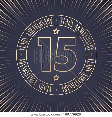 15 years anniversary vector icon logo. Graphic design element with golden stamp with number for 15th anniversary ceremony