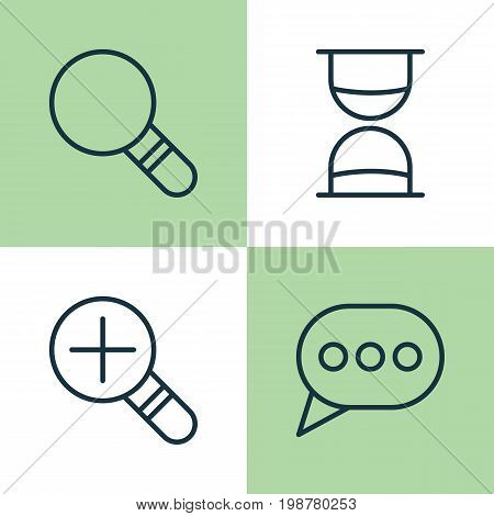Web Icons Set. Collection Of Increase Loup, Research, Hourglass And Other Elements