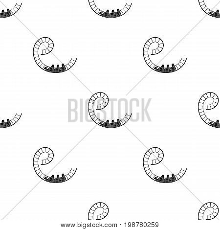 Roller coaster for children and adults. Dead loops, dangerous turns, terrible rides.Amusement park single icon in black style vector symbol stock web illustration.