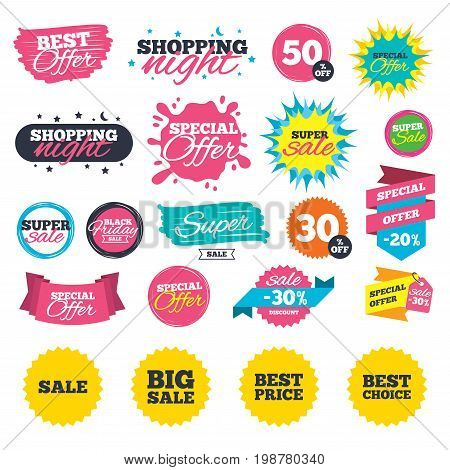 Sale shopping banners. Sale icons. Best choice and price symbols. Big sale shopping sign. Web badges, splash and stickers. Best offer. Vector
