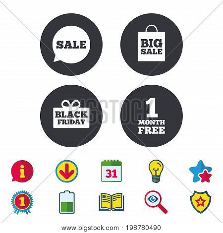 Sale speech bubble icon. Black friday gift box symbol. Big sale shopping bag. First month free sign. Calendar, Information and Download signs. Stars, Award and Book icons. Vector