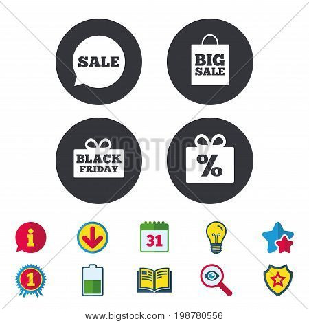 Sale speech bubble icon. Black friday gift box symbol. Big sale shopping bag. Discount percent sign. Calendar, Information and Download signs. Stars, Award and Book icons. Vector