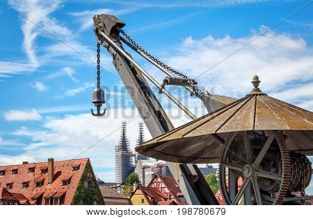 Historic crane in harbour of Bamberg, Franconia, Bavaria, Germany