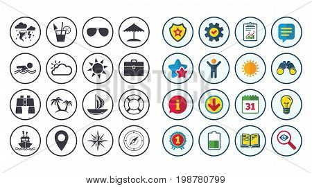 Set of Travel and Cruise icons. Ship, Yacht and Lifebuoy signs. Binoculars, Windrose and Storm symbols. Sun, Swimming and Sunglasses. Calendar, Report and Book signs. Stars, Service and Download icons