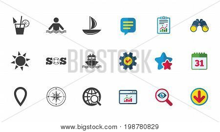 Cruise trip, ship and yacht icons. Travel, cocktail and sun signs. Sos, windrose compass and swimming symbols. Calendar, Report and Download signs. Stars, Service and Search icons. Vector