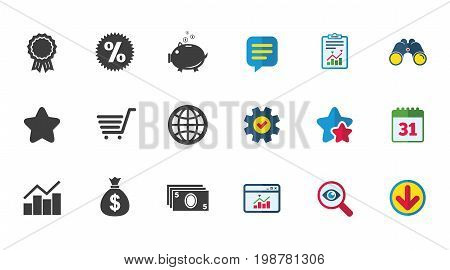 Online shopping, e-commerce and business icons. Piggy bank, award and star signs. Cash money, discount and statistics symbols. Calendar, Report and Download signs. Stars, Service and Search icons