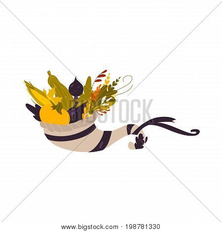 Cornucopia, horn of abundance, autumn harvest, herbs and vegetables, cartoon vector illustration isolated on white background. Cartoon cornucopia, horn of abundance, thanksgiving symbol, decoration