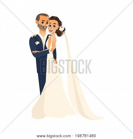 vector groom and bride newlywed couple holding and hugging each other flat cartoon illustration isolated on a white background. Wedding concept character design