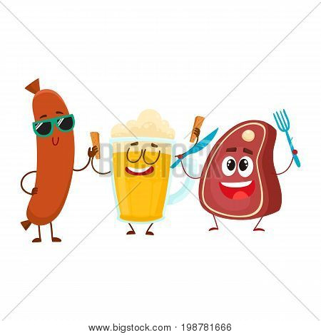 Happy beer mug, meat steak and frankfurter sausage characters having party, cartoon vector illustration isolated on white background. Funny smiling beer mug, steak and sausage characters celebrating