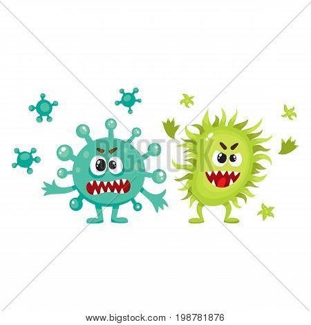 Couple of virus, germ, bacteria characters with human faces and sharp teeth, cartoon vector illustration on white background. Scary bacteria, virus, germ monsters, pathogens, microorganisms