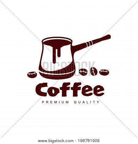 Vector turkish coffee cezve pot. Coffee concept flat icon. line icon illustration isolated on a white background.
