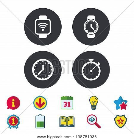 Smart watch wi-fi icons. Mechanical clock time, Stopwatch timer symbols. Wrist digital watch sign. Calendar, Information and Download signs. Stars, Award and Book icons. Light bulb, Shield and Search