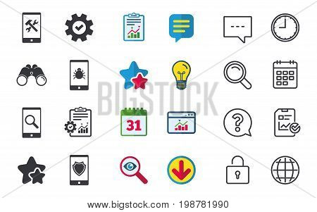 Smartphone icons. Shield protection, repair, software bug signs. Search in phone. Hammer with wrench service symbol. Chat, Report and Calendar signs. Stars, Statistics and Download icons. Vector