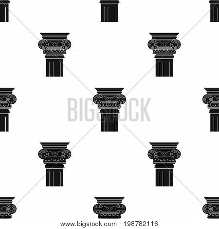 Column icon in black design isolated on white background. Architect symbol stock vector illustration.