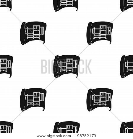 Technical drawing of house icon in black design isolated on white background. Architect symbol stock vector illustration.