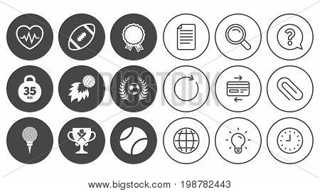 Sport games, fitness icons. Football, golf and baseball signs. Heartbeat, rugby and laurel wreath symbols. Document, Globe and Clock line signs. Lamp, Magnifier and Paper clip icons. Vector