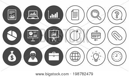 Statistics, accounting icons. Charts, presentation and pie chart signs. Analysis, report and business case symbols. Document, Globe and Clock line signs. Lamp, Magnifier and Paper clip icons. Vector