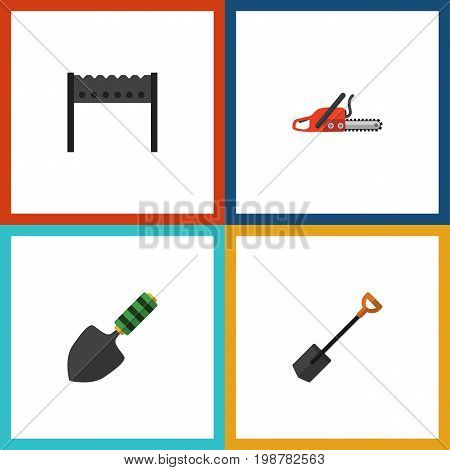 Flat Icon Garden Set Of Spade, Hacksaw, Trowel And Other Vector Objects