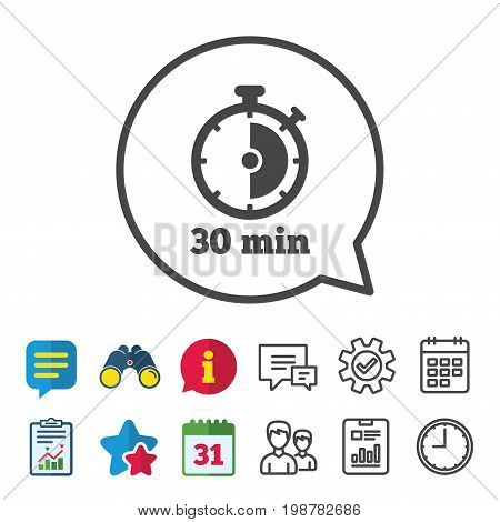 Timer sign icon. 30 minutes stopwatch symbol. Information, Report and Calendar signs. Group, Service and Chat line icons. Vector