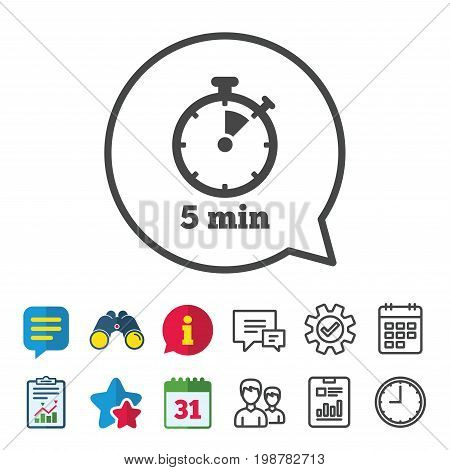 Timer sign icon. 5 minutes stopwatch symbol. Information, Report and Calendar signs. Group, Service and Chat line icons. Vector
