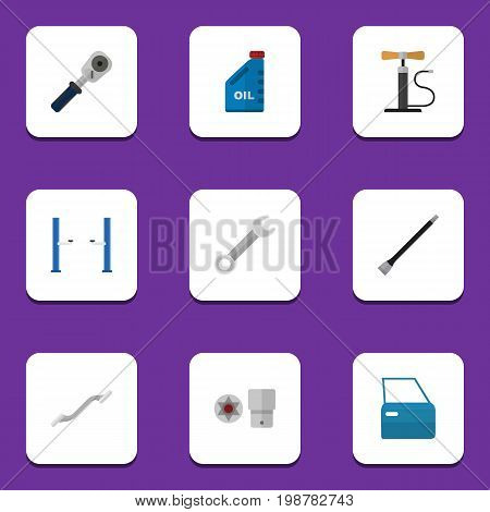 Flat Icon Auto Set Of Petrol, Pipeline, Wheel Pump And Other Vector Objects