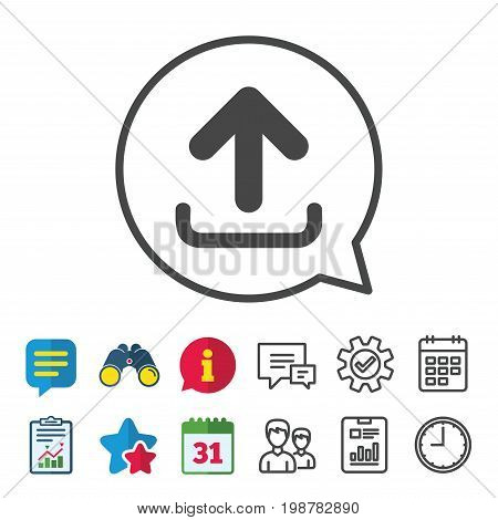 Upload sign icon. Load data symbol. Information, Report and Calendar signs. Group, Service and Chat line icons. Vector