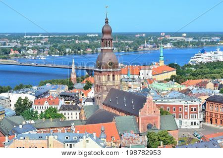 Latvia Riga. Top-view of the Old Town in a sunny summer day