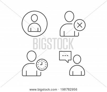 User, Remove Profile and Comments line icons. Businessman with clock symbols. Quality design elements. Editable stroke. Vector