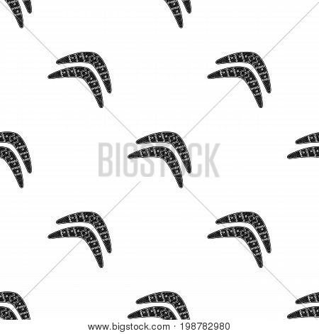 Australian boomerang icon in black design isolated on white background. Australia symbol stock vector illustration.