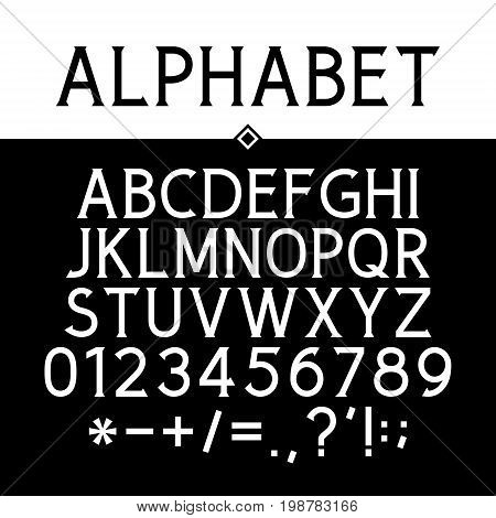 Serif Font Black Alphabet Numbers and Mathematical Signs Strict Typeface Vector Illustration