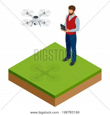 Isometric man with drone quadrocopter, Remote aerial drone with a camera taking photography or video recording. game sevremennaya, isometrics businessman. On a light background. Vector illustration