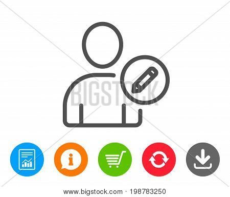 Edit User line icon. Profile Avatar with pencil sign. Person silhouette symbol. Report, Information and Refresh line signs. Shopping cart and Download icons. Editable stroke. Vector