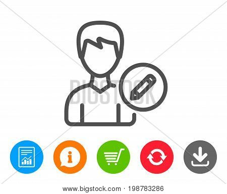 Edit User line icon. Profile Avatar with pencil sign. Male Person silhouette symbol. Report, Information and Refresh line signs. Shopping cart and Download icons. Editable stroke. Vector