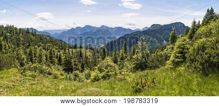 View from Nassfeld in Carnic Alps in Austria to Julian Alps in Italy