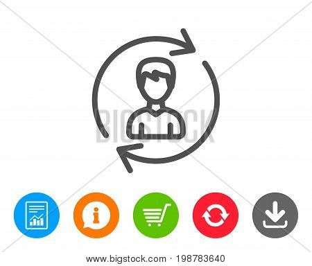 Human Resources line icon. User Profile sign. Male Person silhouette symbol. Refresh or Update sign. Report, Information and Refresh line signs. Shopping cart and Download icons. Editable stroke