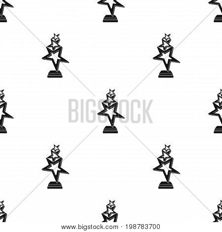 The reward in the form of gold stars on a stand. The award winner of the singing contest.Awards and trophies single icon in black style vector symbol stock web illustration.