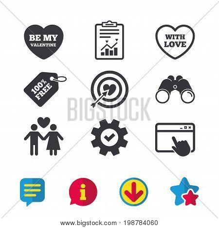 Valentine day love icons. Target aim with heart and arrow symbol. Couple lovers sign. Browser window, Report and Service signs. Binoculars, Information and Download icons. Stars and Chat. Vector