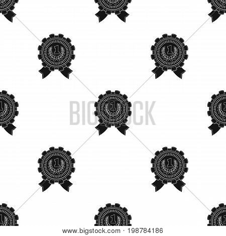 The award for first place.Gold medal with the red ribbon of the winner Olympics.Awards and trophies single icon in black style vector symbol stock web illustration.