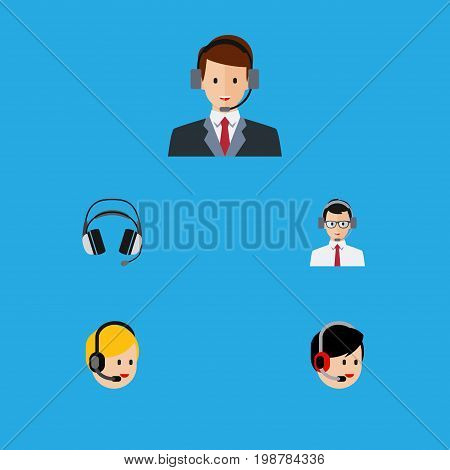 Flat Icon Hotline Set Of Operator, Earphone, Help And Other Vector Objects