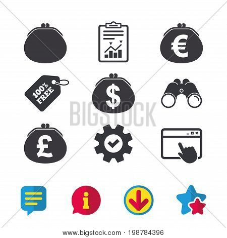 Wallet with Dollar, Euro and Pounds currency icons. Cash bag signs. Retro wealth symbol. Browser window, Report and Service signs. Binoculars, Information and Download icons. Stars and Chat. Vector